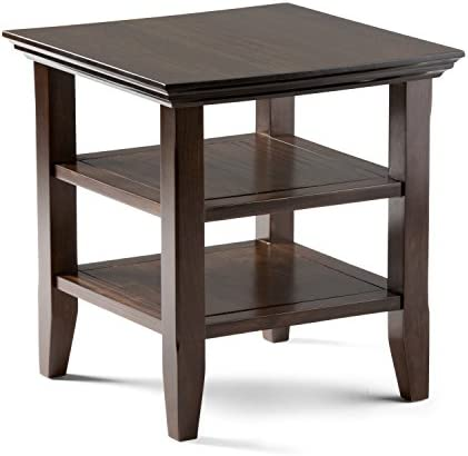 Simpli Home Acadian SOLID WOOD 19 inch wide Square Rustic Contemporary End Side Table