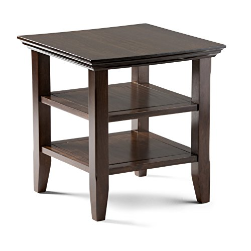 (Simpli Home AXWELL3-003 Acadian Solid Wood 19 inch wide Square Rustic End Table in Tobacco Brown)