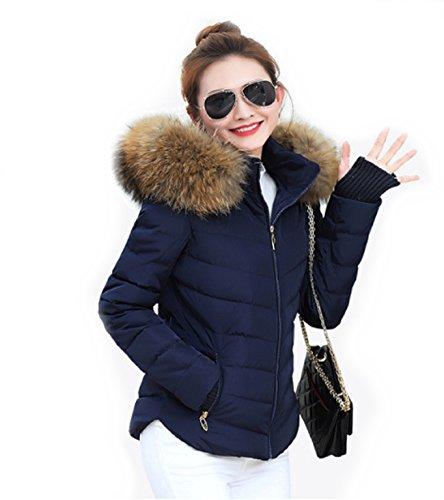 peluche pelliccia blu da collo L Alma Giacca trapuntata giacca largo donna taglia di di qC4Z0Xx