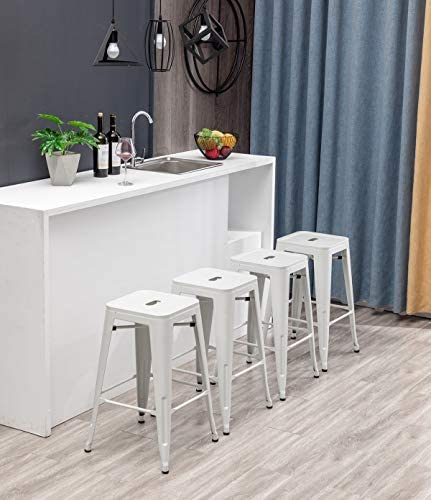 Modern Industrial Metal Stool Set of 4 for Indoor Outdoor Dining Chair 26 , White