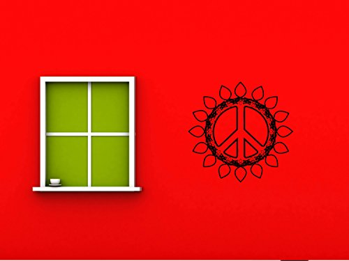 Flowered Peace Sign Hippie Flower Child Bohemian Beatnik Free Spirit Dropout Woodstock Joy Wall Art Sticker Decal Tr085 B