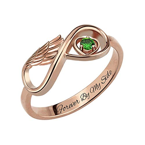 Getname Necklace Personalized Angel Wing Infinity Heart Ring with Birthstone Sterling Silver 928 Wedding Band Ring Engagement Ring for ()