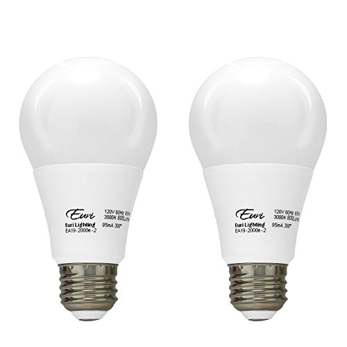 Med 60w Bulb (Euri Lighting EA19-2020e-2 LED A19 Bulb, Everyday Line, Warm White 2700K, Dim, 9.5W (60W Equivalent) 800lm 300 Degree Beam Angle Enclosed Rated, Med Base (E26) UL & Energy Star Listed (Pack of 2))