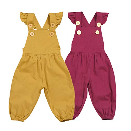 (Toddler Kids Baby Girl Vintage Style Spring Outfit Jumpsuit Romper Long Ruffled Overalls Pants Outfits (Red,)