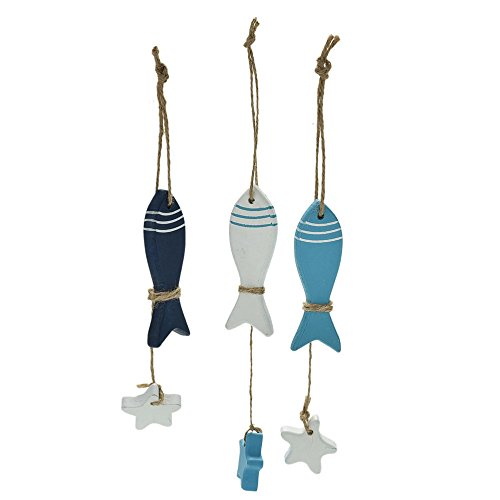 Cupcakes Halloween Ideas Decorated (1 PC Mediterranean Starfish Hung Fish Nautical Decor hang Mini Adorn Crafts Wood Fish/decorated marine)