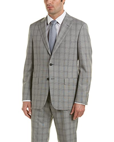 Hickey Freeman Mens Wool Suit With Flat Front Pant, 40R, - Suits Hickey Mens Freeman