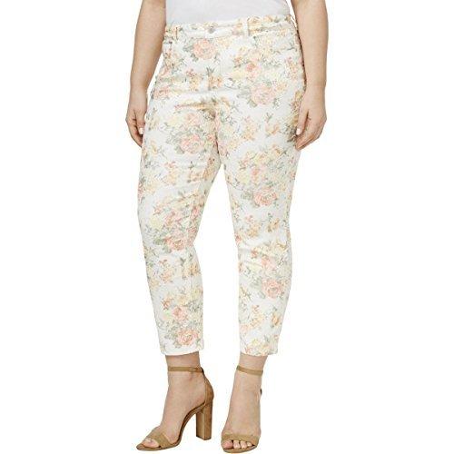 Charter Club Womens Plus Bristol Jaquard Floral Print Capri Pants White 20W