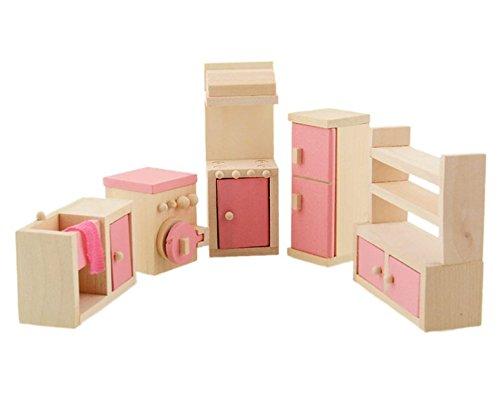 Pretend Kitchen Furniture (Glamorway Baby Kids Play Pretend Toy Design Wooden Doll Furniture Dollhouse Miniature Toy Children Gifts for Kitchen)