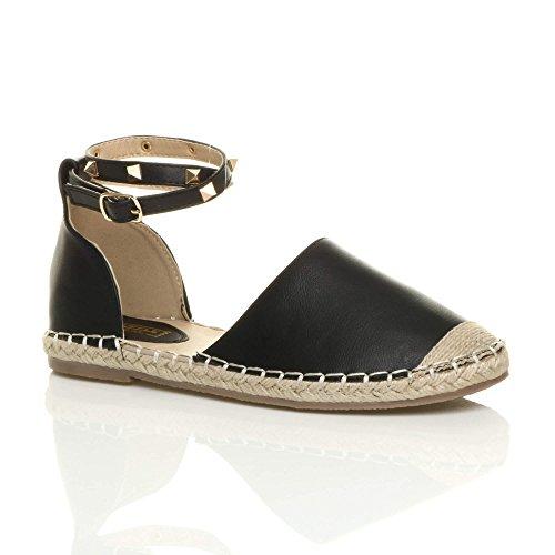 Damen Flach Stollen Knöchelriemen Sommer Espadrilles Sandalen Schuhe Größe Schwarz