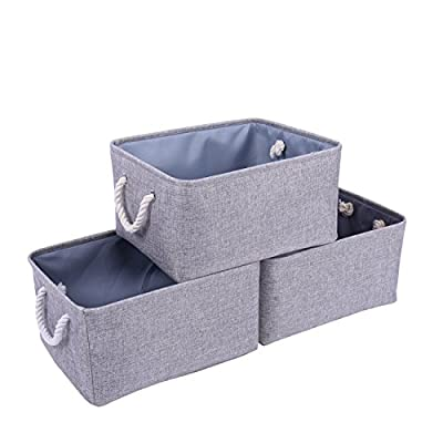 "tegance Grey Basket Fabric Baskets Rectangular Storage Bins Baskets [3-Pack], Canvas Storage Organizing Basket for Empty Gifts,Basket Storage for Nursery 15.7""x 11.8""x 8.3"" - MULTI-PURPOSE STORAGE BINS:Set of 3,Great grey linen basket for books,magazines,toy storage,dog toys basket,shoe basket,clothes basket,shelf,baby bin,pet toy storage,towel basket,blankets,decorations,office supplies,DVD and gifts,Decorative basket ideal for living room,bedroom,bathrooms,utility room,kids room,Nursery Room,craft room,playroom,closet,dorms,condos,laundry room,toilet or even in the hallway SOLID CONSTRUCTION:Fabric Basket Storage Bins are Constructed of Fabric with a Sturdy Base and Thick Rope Handles for Easy to Carry or Pull Off and Out of Shelves,It is easy to clean,just wipe with a damp sponge or cloth. Dimensions:15.7""(L)*11.8""(W)*8.3""(H);it has enough space for toys/books/DVD/grocery/Clothes/ underwear etc - living-room-decor, living-room, baskets-storage - 41ubpJu4EYL. SS400  -"