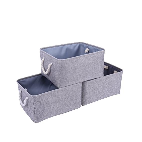 """tegance Grey Basket Storage Baskets [3-Pack] Fabric Baskets Rectangular Storage Bins Decorative Baskets Canvas Storage Basket for Empty Gifts, Basket Storage for Nursery 15.7""""x 11.8""""x 8.3"""" - MULTI-PURPOSE STORAGE BINS:Set of 3,Great grey linen basket for books,magazines,toy storage,dog toys basket,shoe basket,clothes basket,shelf,baby bin,pet toy storage,towel basket,blankets,decorations,office supplies,DVD and gifts,Decorative basket ideal for living room,bedroom,bathrooms,utility room,kids room,Nursery Room,craft room,playroom,closet,dorms,condos,laundry room,toilet or even in the hallway SOLID CONSTRUCTION:Fabric Basket Storage Bins are Constructed of Fabric with a Sturdy Base and Thick Rope Handles for Easy to Carry or Pull Off and Out of Shelves,It is easy to clean,just wipe with a damp sponge or cloth. Dimensions:15.7""""(L)*11.8""""(W)*8.3""""(H);it has enough space for toys/books/DVD/grocery/Clothes/ underwear etc - living-room-decor, living-room, baskets-storage - 41ubpJu4EYL. SS570  -"""