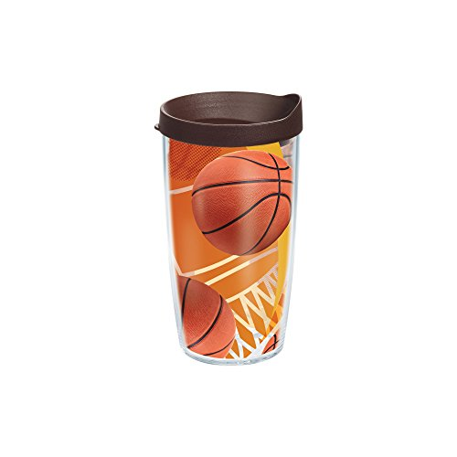 Basketball Mug - Tervis 1140513 Basketballs Net & Golden Background Tumbler with Wrap and Brown Lid 16oz, Clear
