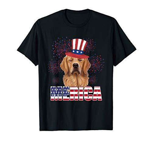 Merica Golden Retriever USA Flag Tshirt Patriotic lover Gift