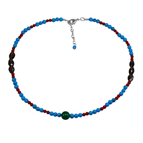 Saamarth Impex Green Onyx, Turquoise & Smoky Quartz Necklace PG-131107 (Necklace Onyx Quartz Smoky)