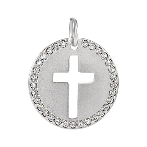 14k White Gold and 0.08 Ctw Diamond Disc Cross Charm or Pendant (I1 Clarity, G-H Color) 12mm