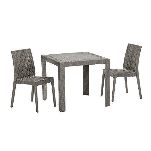 【ガーデンテーブル チェア セット ラタン調 庭 テラス】ステラテーブルチェア3点セット(BF-016-3A) B01C453GM2
