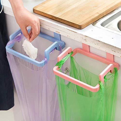 (Gotian Portable Kitchen Trash Bag Holder Cabinets Cloth Rack Towel Rack ~ Kitchen Door Back Portable Garbage Bag Bracket ~ Suitable for Kitchen/Home (18.5 16.5 4.5cm) (Beige))