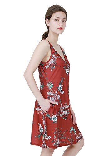 Yming Vestido De Verano Para Mujer Con Cuello En V Con Bolsillos
