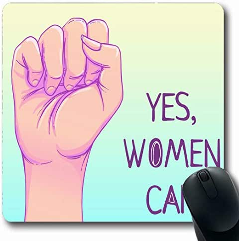 Ahawoso Mousepads for Computers Riot Day Can Hand Her Power Feminism Girl International Strong Fight Design Pastel Oblong Shape 7.9 x 9.5 Inches Non-Slip Oblong Gaming Mouse Pad