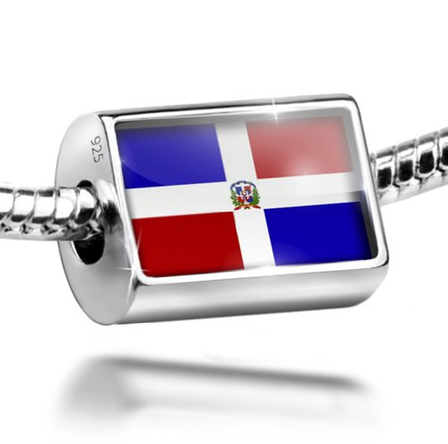 Sterling Silver Charm Dominican Republic Flag - Bead Fit All European Bracelets