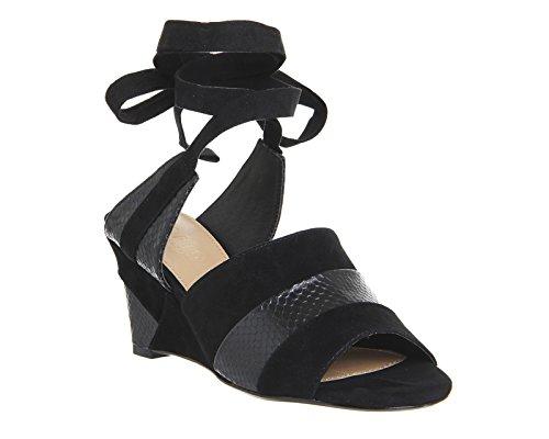 Unbekannt - Zapatos de vestir para mujer schwarze Velourslederoptik