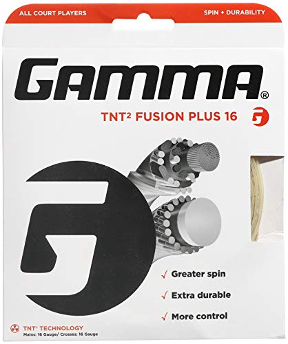 Gamma TNT2 Fusion Plus 16G Tennis String, Natural