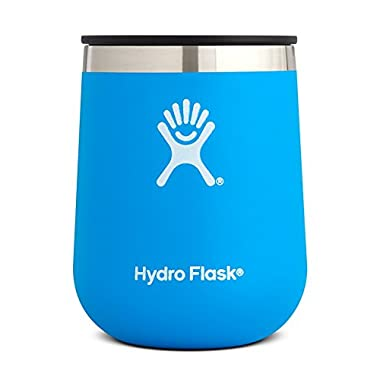 Hydro Flask 10 Ounce Double Wall Vacuum Insulated Stainless Steel Stemless Wine Tumbler Glass with Press-In Lid, Pacific