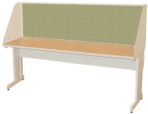 Pronto Pronto School Training Table with Carrel and Lockable Raceway, 72W x 30D - Putty Finish and Peridot Fabric by Marvel Furniture
