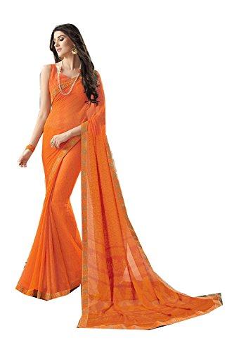 Women Wedding Facioun Sari Traditional Designer for Indian Sarees Wear Party Orange Da Iwfgq1Xg