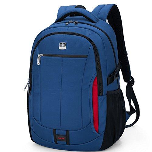 Bonamana 15,6 Zoll Unisex 1680D Oxford Wasserdicht Beständig Rucksack Laptop-Tablette Aktentasche für Macbook Pro Macbook Air Ultrabooks (Blau) Blau
