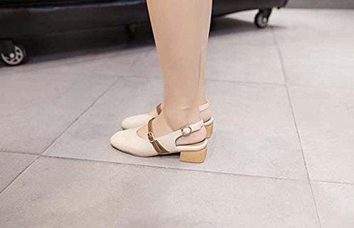 SHEO sandalias de tacón alto Sra. De espesor con la cabeza cuadrada con sandalias Baotou boca baja Albaricoque