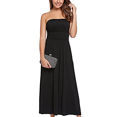 New Zeagoo Women's Strapless Vintage Floral Print Maxi Dress With Pockets hot sale