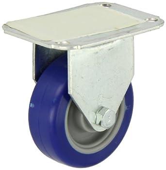 "E.R. Wagner Plate Caster, Rigid, Polyurethane on Polyolefin Wheel, Plain Bearing, 125 lbs Capacity, 3"" Wheel Dia, 1"" Wheel Width, 3-13/16"" Mount Height"