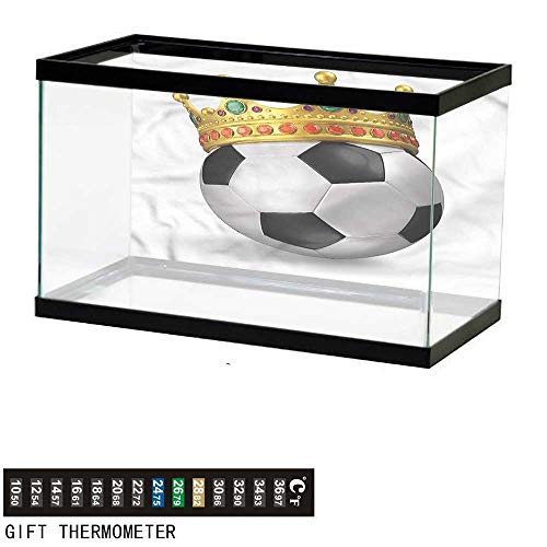 "bybyhome Fish Tank Backdrop King,Football Soccer with Crown,Aquarium Background,72"" L X 24"" H(183x61cm) Thermometer Sticker"