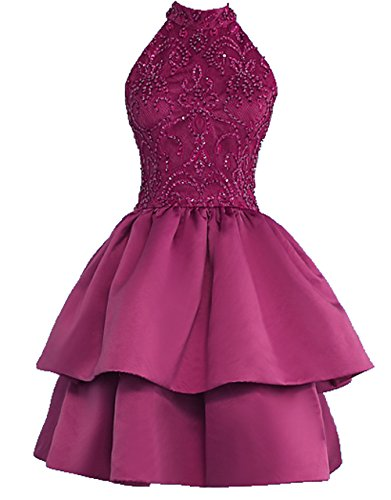 Cocktail Dresses Homecoming Dresses BD368 2018 Open Layers Party Multi Burgundy Back Neck BessDress Beads High w7qtI