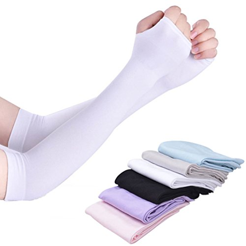 Swesy 6 Pairs UV Sun Protection Cooling Arm Sleeves for Women - Unisex Fingerless Sleeves Cover with Thumb Hole for Indoor Outdoor Activities Golf/Fishing/Driving/Cycling/Hiking by Swesy
