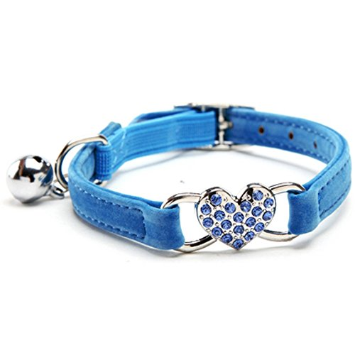 (KOOLTAIL Blue Heart Bling Cat Collar with Safety Belt and Bell 8-11 Inches)