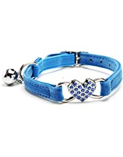 KOOLTAIL Blue Heart Bling Cat Collar with Safety Belt and Bell 8-11 Inches