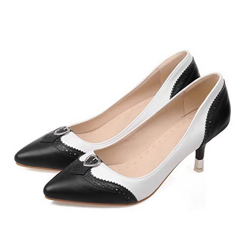 VogueZone009 Women's Kitten Heels Assorted Color Pull On Pointed Closed Toe Pumps-Shoes Black IkzWAM