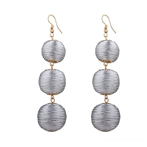 - XY Fancy Women's Lantern Ball Dangle Earrings Drop Earrings Beaded Ball Ear Drop (Silver)