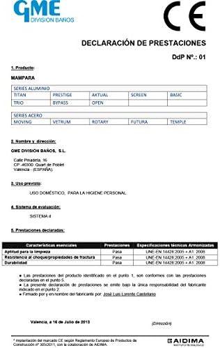 MAMPARA de DUCHA - FRONTAL - modelo ROTARY [ GME ] cristal TRANSPARENTE (Acero inoxidable, 175-180 cm): Amazon.es: Bricolaje y herramientas