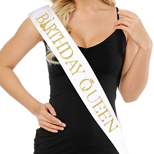 Birthday Sash for Women and Girls - BIRTHDAY QUEEN SASH - 15th 16th 17th 18th 21st 22nd 25th 30th 40th 50th Birthday Gifts for Her - Premium Satin with Gold Glitter Lettering - Funny Party Decorations