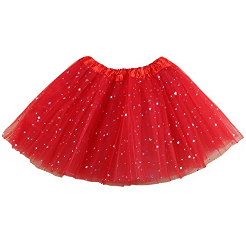 Jastore Girls Layered Stars Sequins Tutu Skirt Princess Ballet Dance Dress (Red)]()