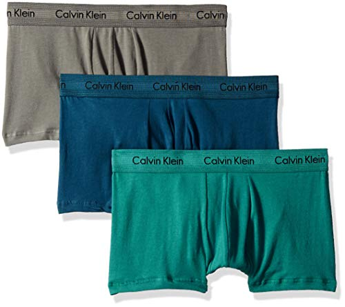 Calvin Klein Men's Cotton Stretch Multipack Low Rise Trunks, grey sky/Majollca/raleigh, XL