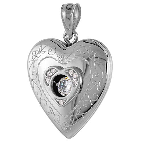 3/4 inch Round Sterling Silver Cubic Zirconia Dancing Diamond Heart Locket Pendant for Women Scroll Etching, 3/4 inch NO Chain