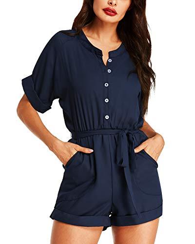 Auxo Womens Short Sleeve Romper Jumpsuit Summer V Neck One Piece Button Tie Playsuit Jumper 08-Navy XL
