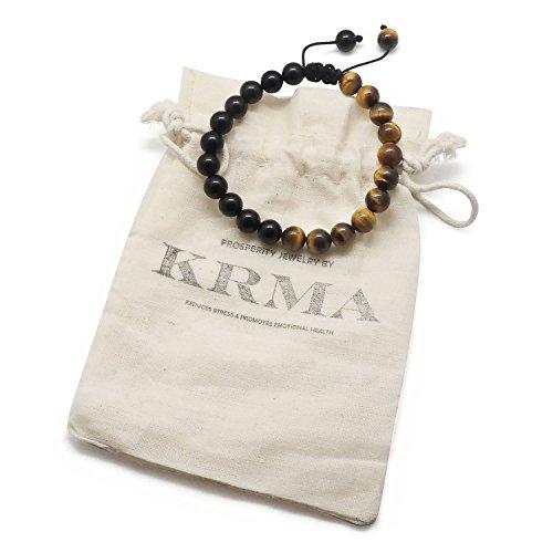 Chakra Bracelet KRMA Organic Cotton Jewelry Bag | Black Agate & Tiger Eye | Japanese String | Energy Stone Prosperity Bracelet by KRMA Prosperity Jewelry (Image #2)