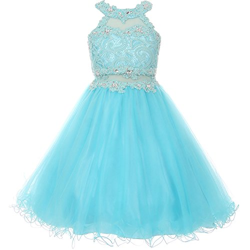Big Girls Halter Neck Rhinestone Lace Illusion Keyhole Wired Tulle Dress Aqua - Size 18