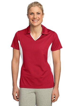 Sport Tek Women's Side Blocked Performance Polo Shirt, True Red/White, X-Large