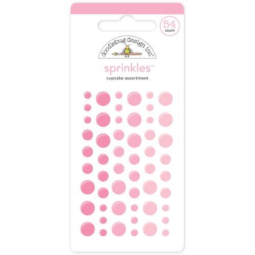 Doodlebug Design Cupcake (Doodlebug Sprinkles Glossy Enamel Adhesive, Cupcake Dots, 54-Pack)
